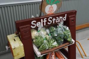 ちょうど外のスタンドに野菜が補充され